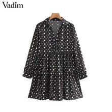 "Vadim Nữ Vintage Họa Tiết Hoa Mini Nữ Tay Dài Cổ Thẳng Áo Vestidos Mujer ""QC842"