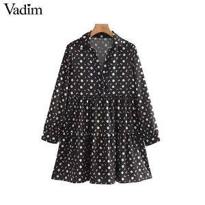 Image 1 - Vadim frauen vintage floral print mini kleid lange hülse weibliche beiläufige gerade kleider vestidos mujer QC842