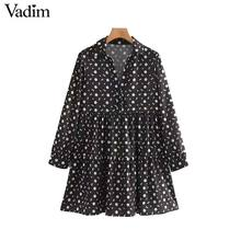 Vadim women vintage floral print mini dress long sleeve female casual straight dresses vestidos mujer QC842
