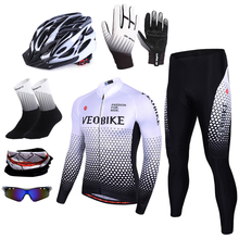 Breathable Autumn Spring Long Sleeve Men Cycling Jersey Set Pro Team Mtb Bike Clothing Bicycle Wear Outdoor Sportswear White
