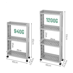 Image 5 - WBBOOMING Kitchen Storage Rack Fridge Side Shelf 3 and 4 Layer Removable With Wheels Bathroom Organizer Shelf Gap Holder