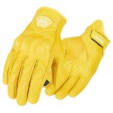 Yellow Motorcycle Gloves Genuine Leather Retro Full Finger Motorbike Vintage Biker Moto Gloves Men Touch Screen Motocross Gloves