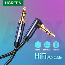 Ugreen 3.5mm Audio Jack Cable 3.5 mm Male to Male Aux Cable For Samsung S20 Car Headphone MP3/4 Aux Cord Wire Line 90 Degree