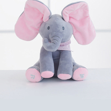 elephant electric toy ears move music baby animal hide and seek cat soothing doll elephant Dog Rabbit plush toy fluffy toy hidden cat hide and seek game baby animated stuffed elephant dolls m15