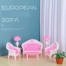 Doll House Accessories Bjd Chair Double/Single Sofa Coffe Table Pink Furniture Diy Dollhouse Kit Playing Toys Decor