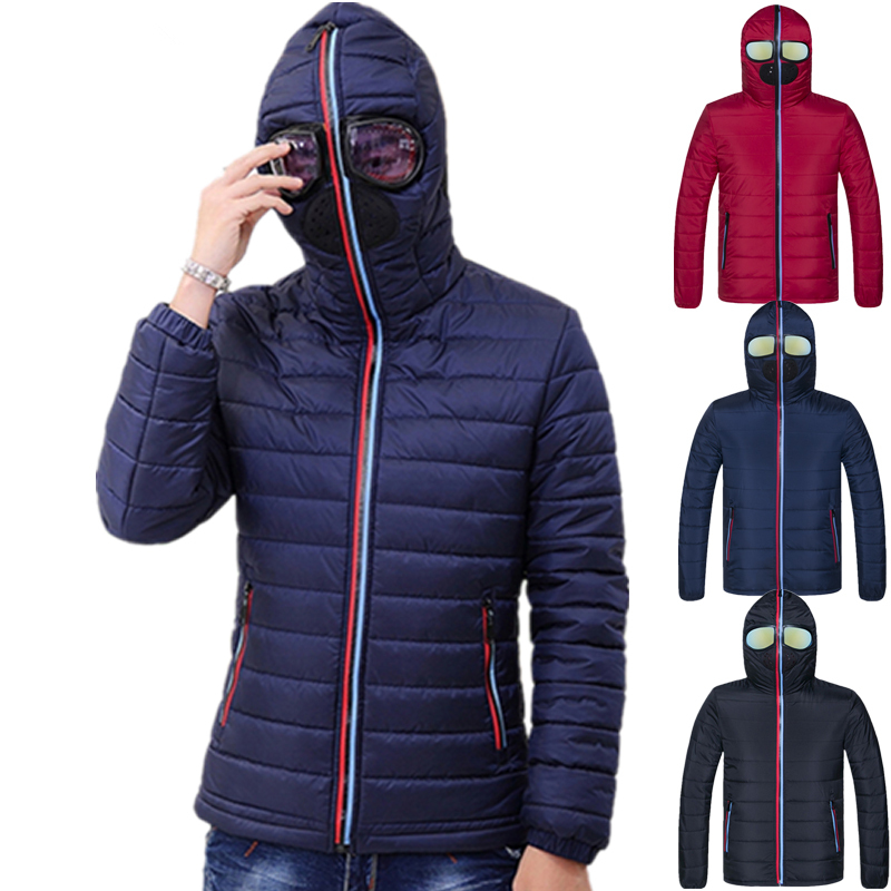 New Winter Jacket Men Thermal Jacket Warm Men Parkas Fancy Hooded  with Glasses youth Man Jackets Outwear strange Clothing 1049Parkas