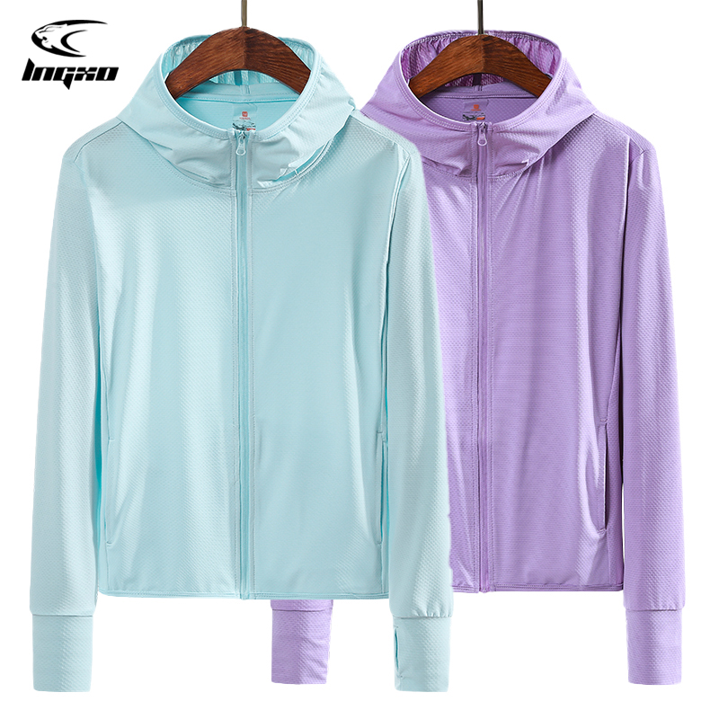 LNGXO Camping Hiking Jacket Women Quick Dry Hunting Clothes UV Protection Mesh Zipper Hooded Cardigan Sun Protection Clothing