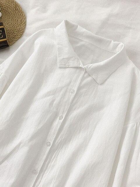 2020 New Spring White Shirts Women Casual Chic Turn-down Collar Korean Split Hem Blouses Office Ladies Leisure Soft Basic Blusas 2