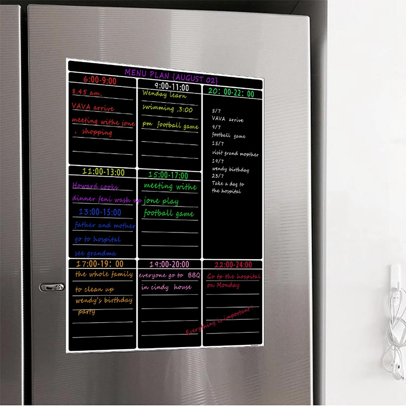 ABKT-A3 Magnetic Dry Erase Whiteboard Sheet Kitchen Fridge Weekly White Board Calendar Useful Menu Planning Grocery Shopping Lis