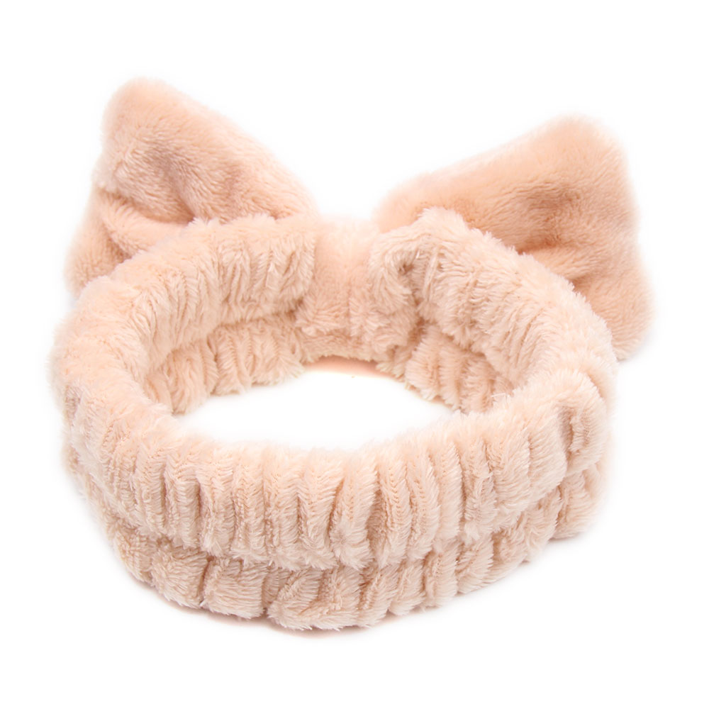 CN Hair Accessories Coral Fleece Bow Headband for Women Soft Makeup Knotted Hairband Girls Solid Color Wash Face Headband in Women 39 s Hair Accessories from Apparel Accessories