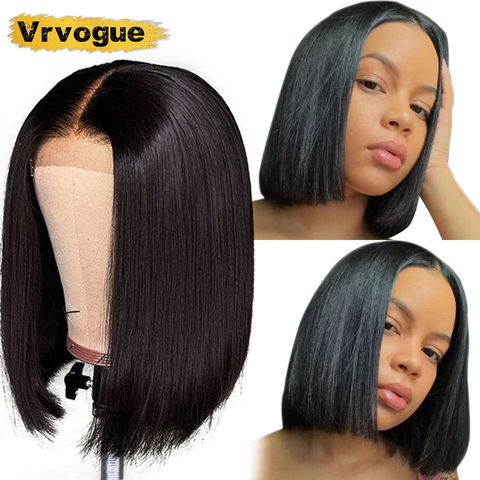 Vrvogue Lace Closure Wig 4X4 Straight Brazilian Short Bob Lace Front Human Hair Wigs Pre Plucked Natural Hairline 8-16 Inch 150%