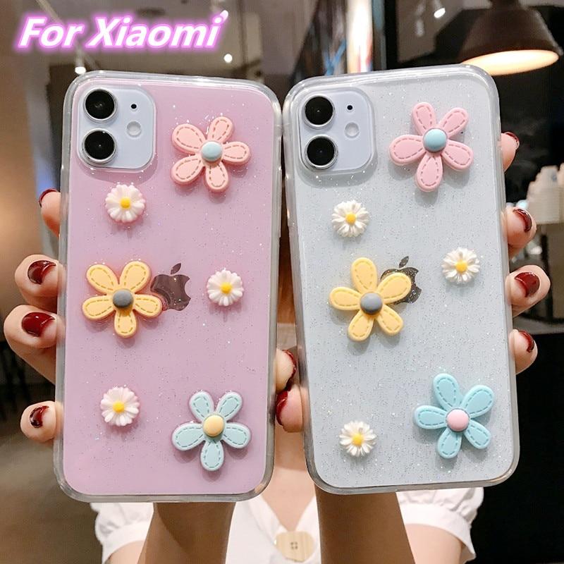 3D Flowers Glitter Phone Case For Xiaomi Mi CC9 9T 9 A3 Lite Redmi Note7 8 8T 9S 9 Pro Max Transparent Bling Soft TPU Back Cover