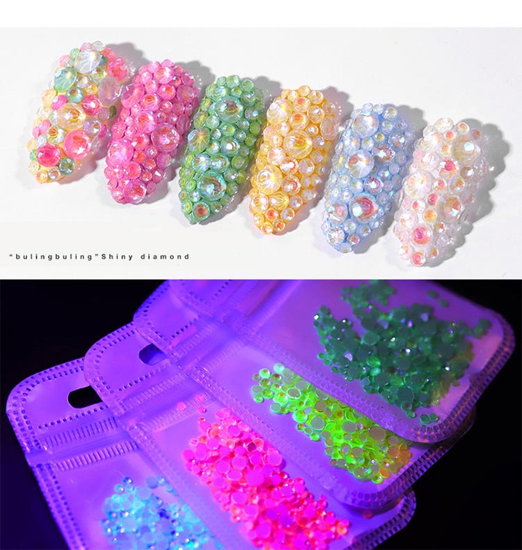 Nail-Art-Decorations Strass Crystal Rhinestones Fluorescent Glow-In-Dark Gem Ss6-Ss20 title=