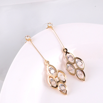 NPKDS New Korean Fashion Four-leaf Clover Zircon Earrings Long Tassel Temperament Ladies Earrings Jewelry image