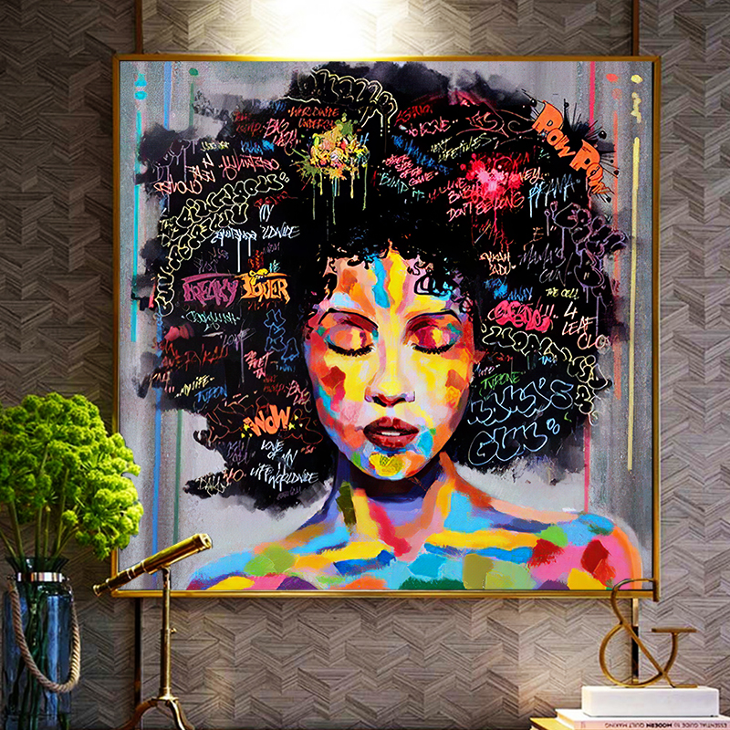 Abstract African Woman Canvas Painting