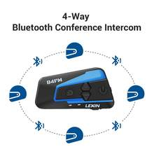 Lexin Bluetooth moto rcycle קסדת אוזניות אינטרקום moto FM רדיו 4 דרכים intercomunicadores דה casco moto intercomunicador B4FM(China)