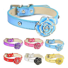 Bling Leather Dog Collar Personalized Diamante Flower Xs/s/m/l For Small Medium Cat Collars Puppy Leash Strap Pet Supplies