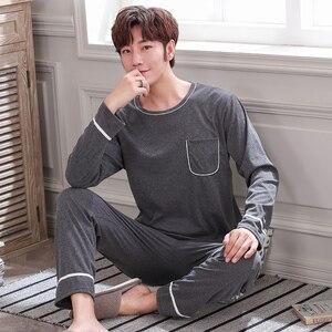 2020 осень-зима мужские новые хлопковые пижамы с длинным рукавом мужской пижамный комплект мужские длинные штаны, пижамные комплекты, для муж...