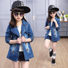 Spring Clothing Jeans Coat for Girls Denim Jackets Cartoon Children Outerwear Kid Active Autumn Clothes Teenager Long Trench Top