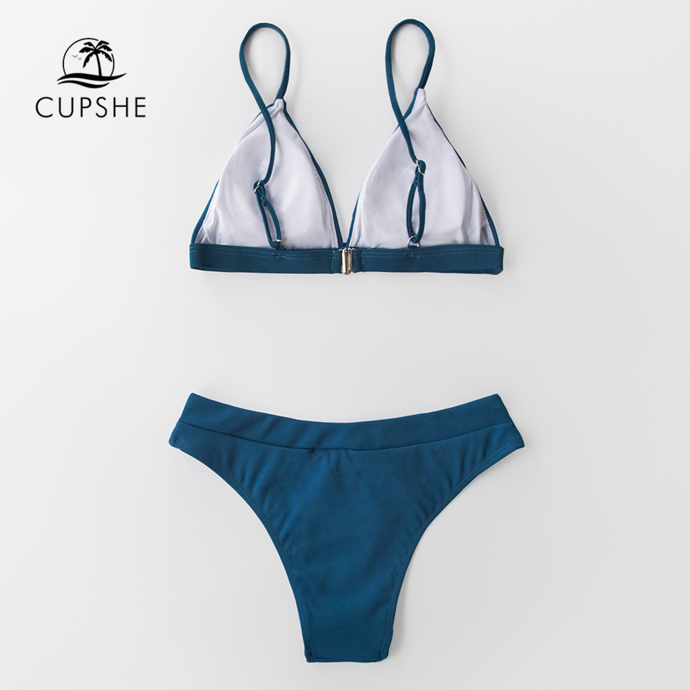 CUPSHE Blue Triangle Low-Waisted Bikini Sets Sexy Thong Swimsuit Two Pieces Swimwear Women 2020 Beach Bathing Suits Biquinis 4