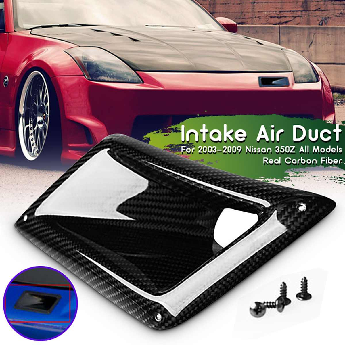 Rear Carbon Fiber Left Side Board Car Front Bumper Machine Cover Air Vent Intake Duct Outlet For Nissan 350Z Z33 2003-2009 image