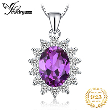 Luxury Princess Diana William Engagement Wedding 2.5ct Alexandrite Sapphire Pendant Necklace Set Solid 925 Sterling Silver