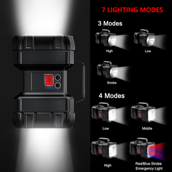 Powerful LED Flashlight XHP50 Waterproof Double Head Searchlight USB Rechargeable High Power Spotlight Lantern Torch with Base 3