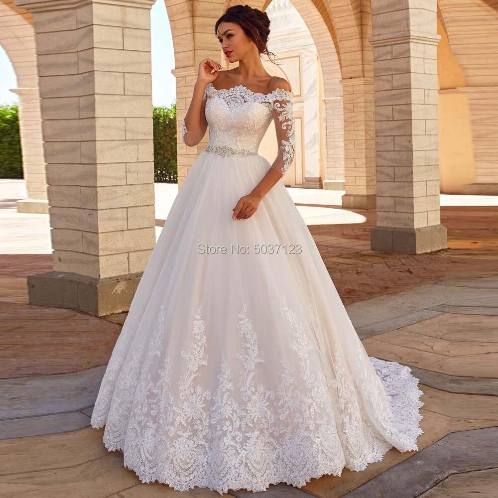 Off The Shoulder A Line Wedding Dresses Three Quarter Lace Appliques Beading Belt Bridal Gown Vestido De Noiva Sweep Train