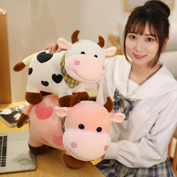 New Nice 25cm/30/40cm New Plush Cow Toy Cute Cattle Plush Stuffed Animals Cattle Soft Doll Kids Toys Birthday Gift for Children 40cm cute otter plush toys artificial river otter doll baby stuffed plush doll animals doll wholesale drop shipping new style