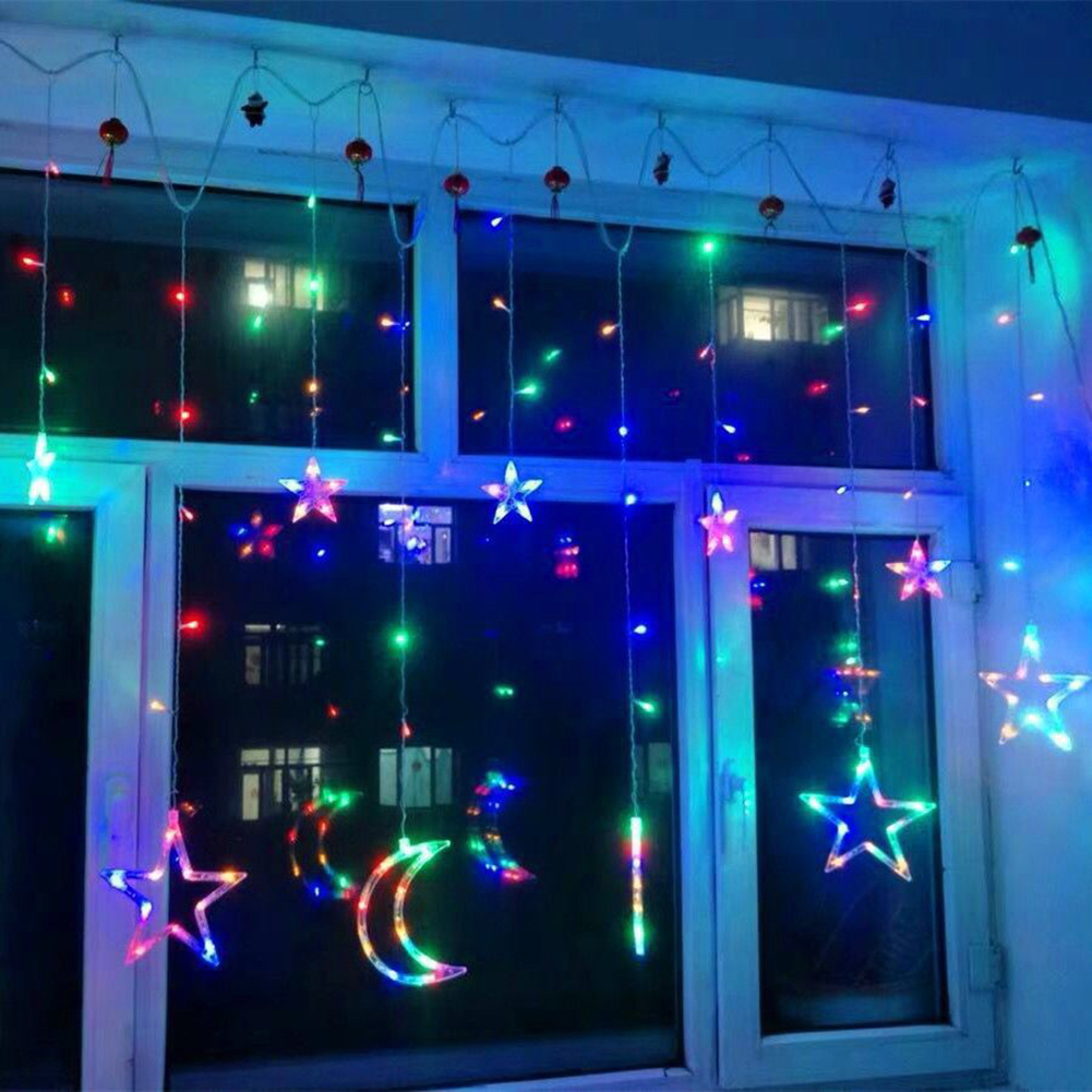 Moon Star Lamp LED Lamp String Christmas Lights Decoration Holiday Lights Curtain Light Wedding Lantern 220v Battery Fairy Light