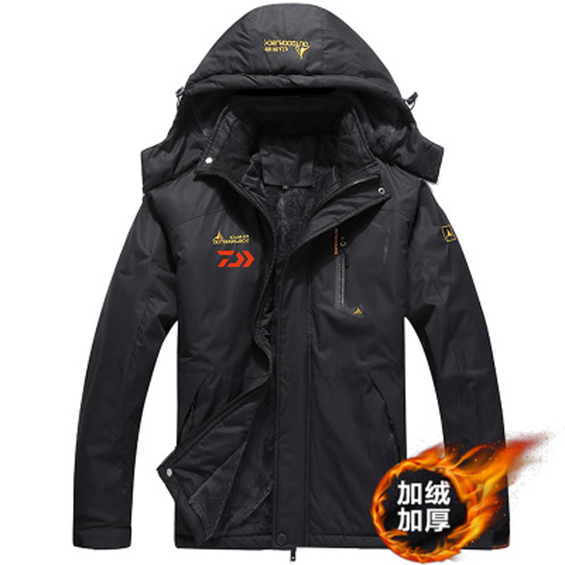 2020 Daiwa Fishing Clothing Winter Men Autumn Winter Waterproof Warm Fishing Jackets Patchwork Hooded Mountaineering Suits