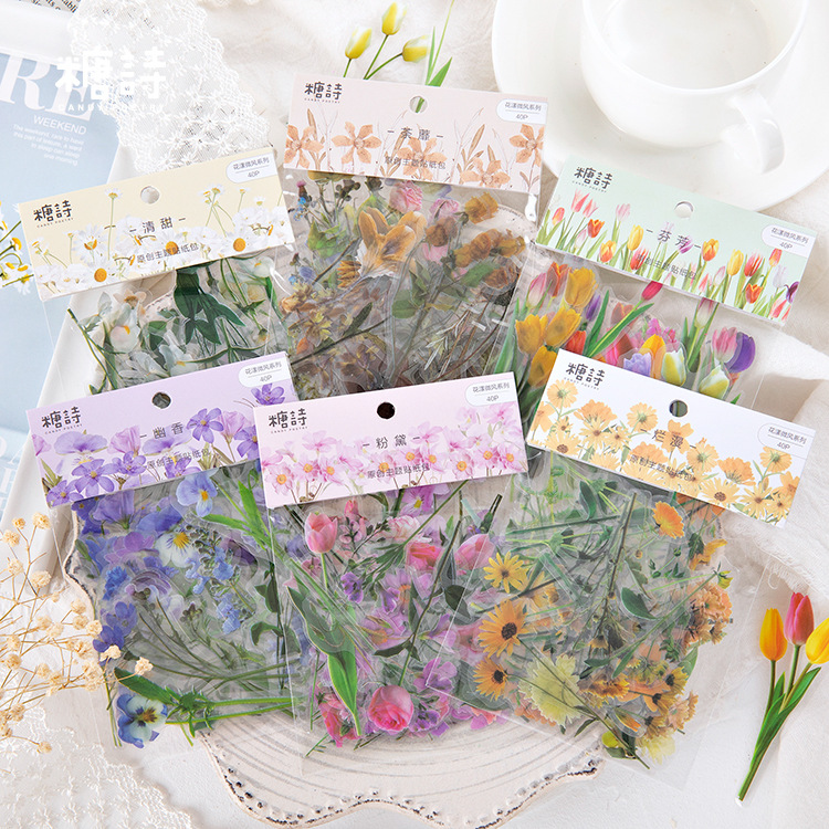 Flower Breeze Series PET Transparent Bullet Journal Decorative Stationery Stickers Scrapbooking DIY Diary Album Stick Lable