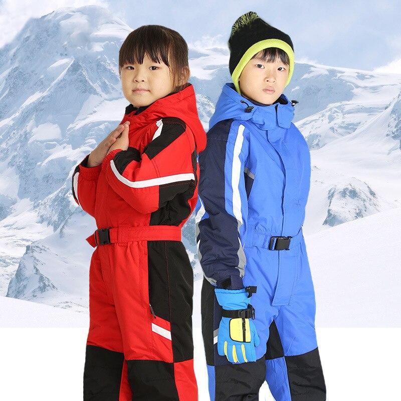 Menina de Inverno Terno de Esqui Esportes ao ar Livre à Prova Jaqueta com Capuz Conjuntos de Uma Peça à Prova de Vento Meninos Dhooded Água Crianças Macacão Quente