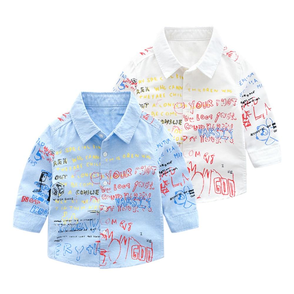 Mudkingdom Boys Shirts Colorful Fashion Letter Print Long Sleeve Lapel Tops Kids Clothing Spring Graffiti Boys Shirt 3