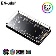 ARGB Hub 5V 3Pin synchronizacji 11 portów Splitter magnetyczne dystans i PMMA Case w rozszerzenie Adapter do kabla taśmy LED światła PC wentylatora RGB AURA tanie tanio En-Labs CN (pochodzenie) Kabel adaptera NONE PRARGB1X10MG Magnetic ARGB Hub 3pin RGB Hub 5V ARGB Addressable Splitter Motherboard RGB Adapter