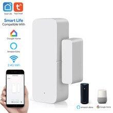 Tuya inteligente wi fi sensor de porta porta aberta/fechado detectores wi fi casa alarme compatível com alexa google casa tuya app