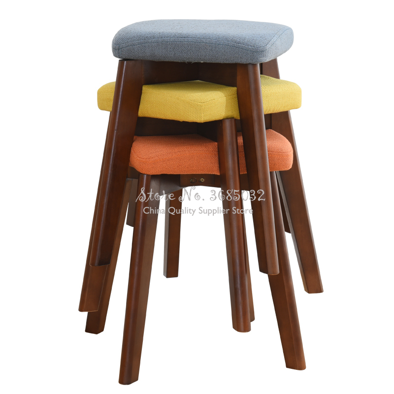 Solid Wood Stool Home Dressing Stool Fashion Table Simple Small Square Stool Creative Makeup Stool Cloth Dining Bench Stool