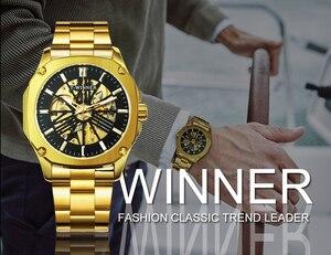 Image 3 - Vencedor oficial do vintage relógio automático men esqueleto mecânico dos homens relógios de luxo da marca superior clássico vestido reloj hombre