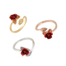 1PCS Beautiful Rose Ring Adjustable For Women Fashion Jewelry For Mother's Day Gift(China)