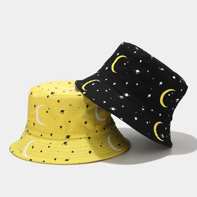 2020 New Korean New Moon Print Fisherman Hat Men And Women Street Trend Double-sided Wearing Basin Caps Spring Summer Sun Hat