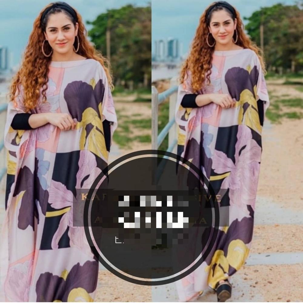 Elegant European Printed Silk Kaftan Dresses Fashionable Dubai Lady party maxi Silk dresses African dresses for women