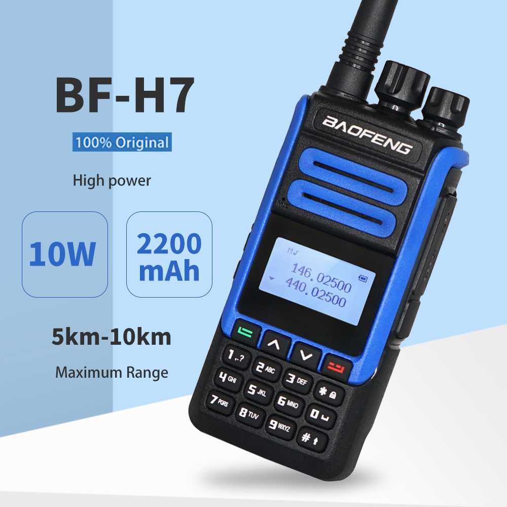 2020 Real 10W BaoFeng BF-H7 High Power Walkie Talkie 10KM Dual Band Portable CB Ham Radio BF H7 FM Transceiver Amateur Intercom