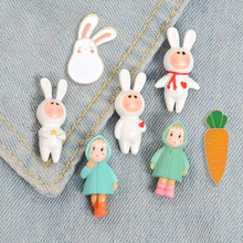 Sweet and lovely Raincoat girl pin Rabbit suit boy Lapel pins brooches bunny carrot enamel pin badge Cartoon jewelry girl gift(China)