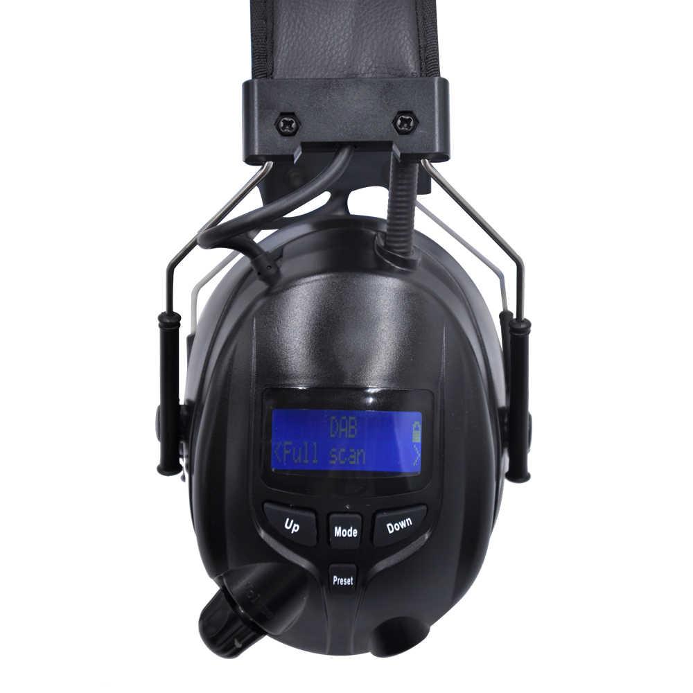 Protear DAB +/FM ochronników słuchu Bluetooth Radio nauszniki akumulator litowy wielokrotnego ładowania ochrona słuchu słuchawki, czarny