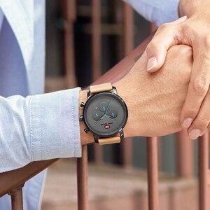 Image 5 - นาฬิกาแฟชั่นผู้ชายอเนกประสงค์ Dial Sub Multi Function Slim นาฬิกาผู้ชายหนังนาฬิกาสายรัดข้อมือ Relogio Masculino