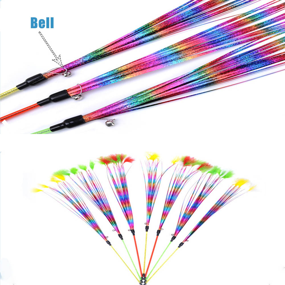Feather Teaser Cats Toy Cats Wand Toys with Bell Catcher Teaser Funny Exercise for Kitten BDF99
