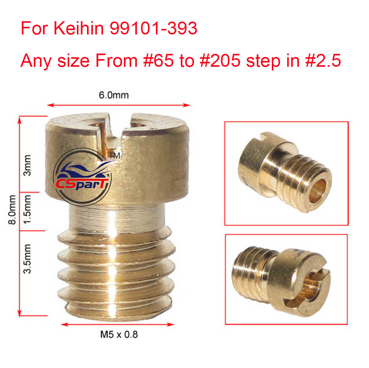 Various Main Jet Set M5 Thread for Carburetor Keihin KOSO OKO CVK Dellorto PE ATV Motorcycle GY6 Carb Parts 6 Size