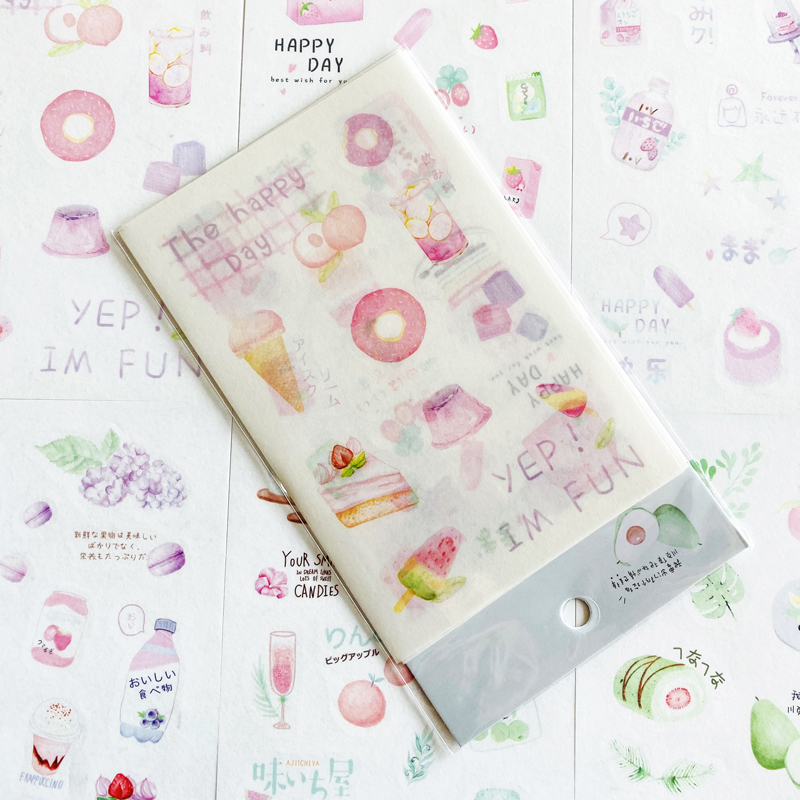 6 Sheets /Pack Cute Afternoon Tea Dessert Drinks Sticker Adhesive Craft Stick Label Notebook Computer Decor Kids Gift Stationery