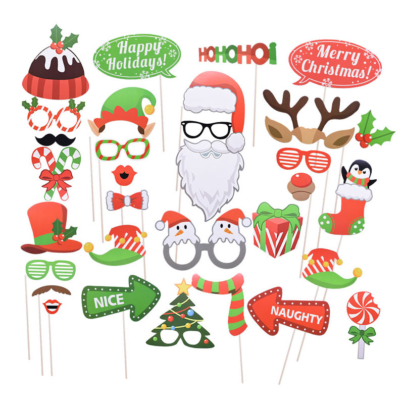 1Set Christmas Photo Booth Props  Funny Funny Mask Merry Christmas Photobooth Happy New Year Christmas Party Decoration Navidad