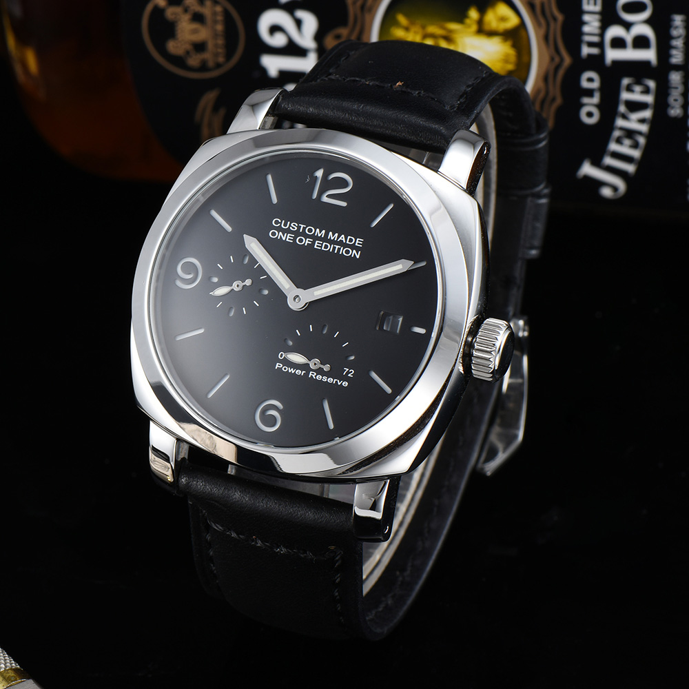 Fully Automatic Men's Watch 44mm Power Reserve Calendar Luminous Hands 316L Stainless Steel Case